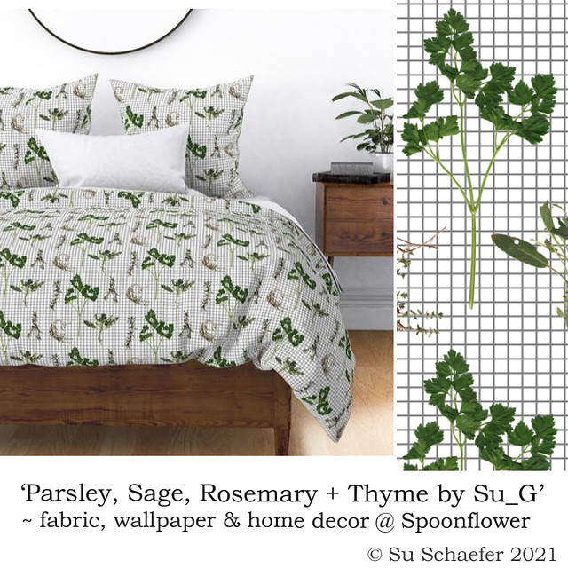 Design Challenge entry: 'Parsley, Sage, Rosemary + Thyme by Su_G' - bed linen mockup