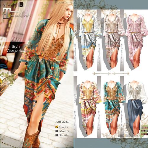__..Silvery K..__Boho Style Vintage dress(all-sample)