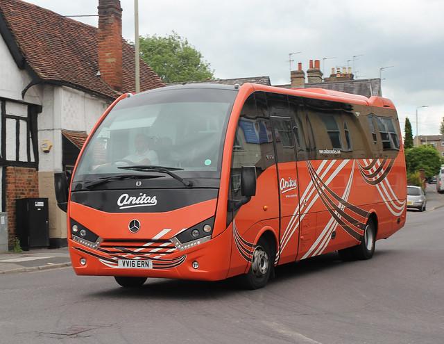 Anita's Coach & Minibus Hire Ltd . Stansted Airport , Essex . VV16ERN . Dunmow Road , Hockerill , Bishop's Stortford , Hertfordshire . Thursday afternoon 10th-June-2021.