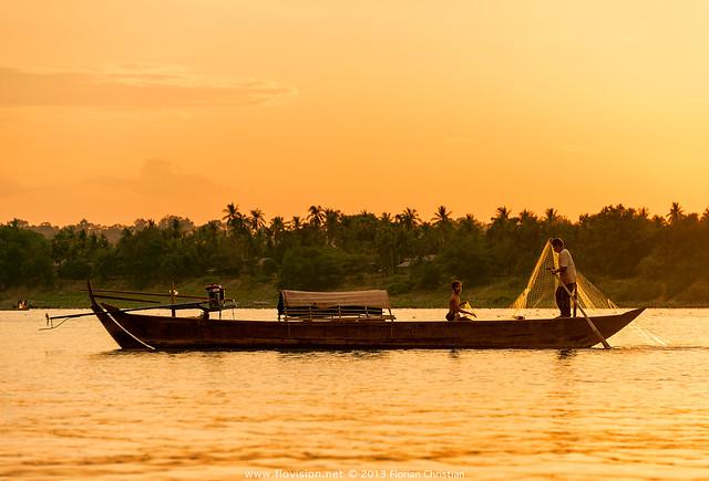 Sunset fishing along the Mekong, Cambodia