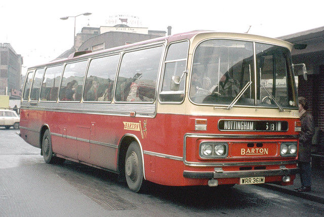 Barton Transport . 1323 WRR361M . Derby Bus Station  . December-1973