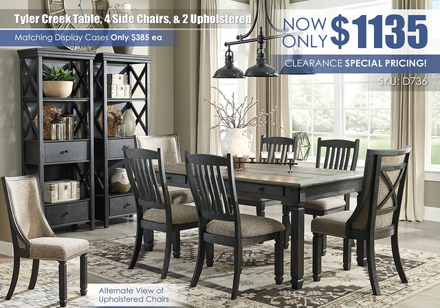 Tyler Creek Table 4 Side Chairs & 2 Upholstered_D736_June2021