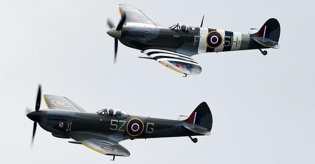 RAF Supermarine Spitfire MkV G-AISU AB910 BBMF SH-F & RAF Supermarine Spitfire MkXVI TE311 SZ-G BBMF