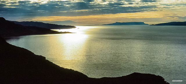Sound of Sleat sunset at the mouth of the glorious fjord, Loch Hourn. Left to right, Knoydart, North Morar, Isle of Eigg and the Sleat Peninsula of the Isle of Skye.
