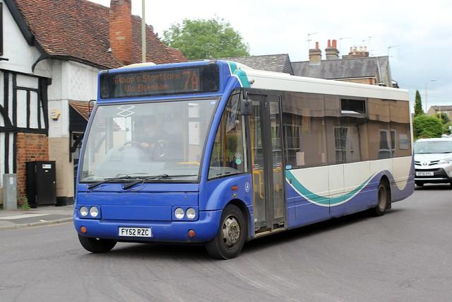 Trustybus /Galleon Travel . Roydon , Essex . FY52RZC . Dunmow Road , Hockerill , Bishop's Stortford , Hertfordshire . Thursday afternoon 10th-June-2021 .