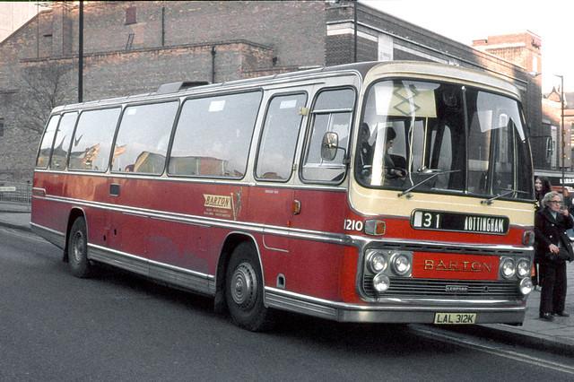 Barton Transport . 1210 LAL312K . Maid Marion Way , Nottingham . December-1973