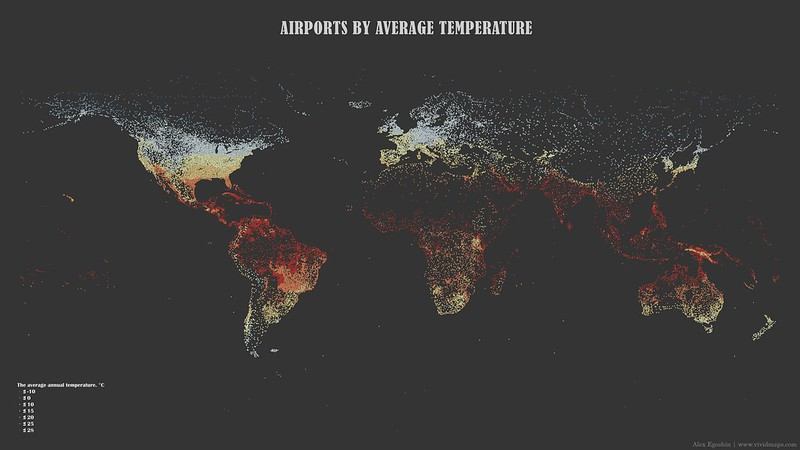 Map of airports by temperature