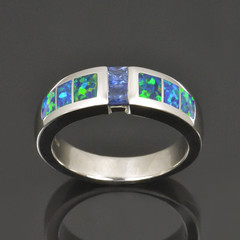 Sapphire and Lab Opal Ring