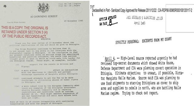 CIA report: Smuggling weapons in the name of famine to overthrow Marxist dictator, Col Mengistu Haile-Mariam
