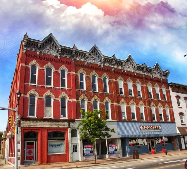Prescott  Ontario - Canada - Corner Building was a former Masonic Temple - Logo on Cornice