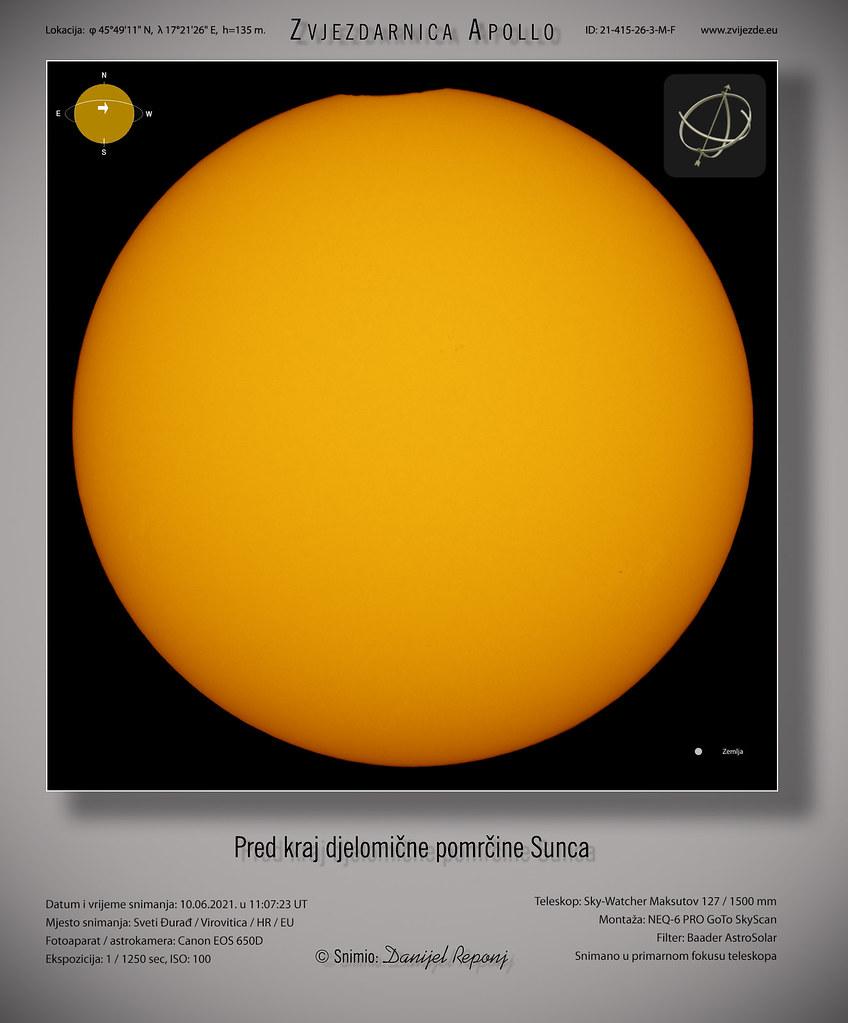 Pred kraj djelomične pomrčine Sunca, 10.6.2021.