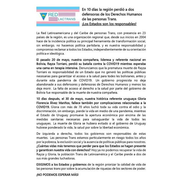 Comunicado Rayza Torriani y Gloria Alvez
