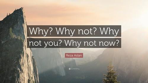 ¿Por qué no? ¿Por qué no tú  mismo? ¿Por qué no ahora mismo?