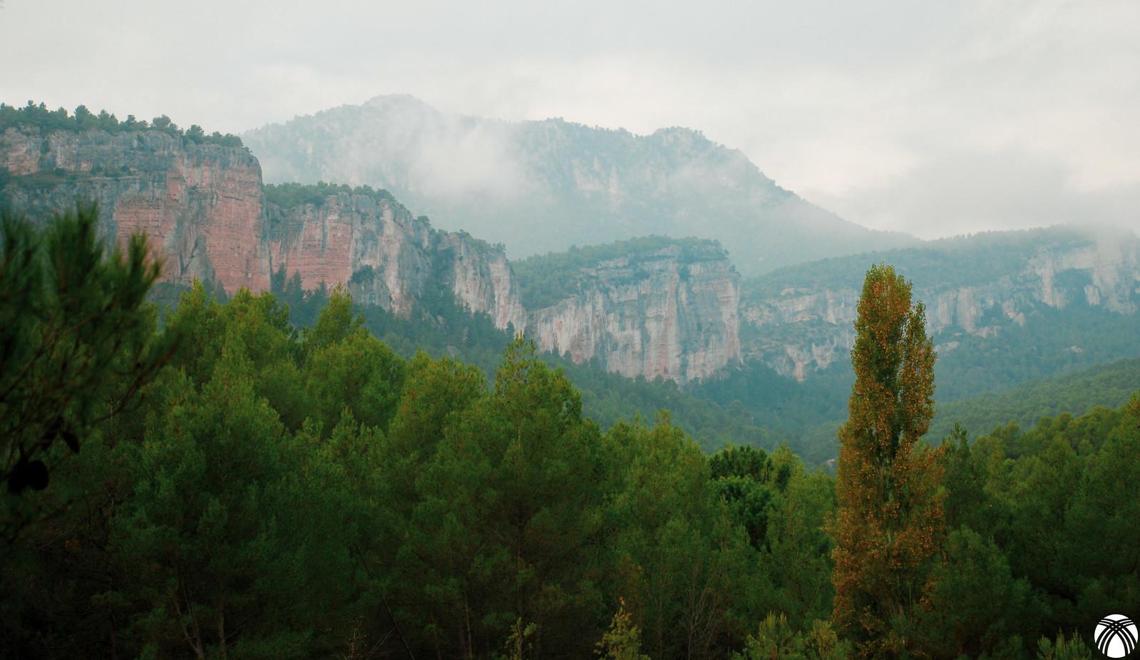 Cañón del río Alhárabe bajo las paredes de la Sierra de los Álamos