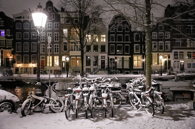 Snow on Amsterdam bicycles