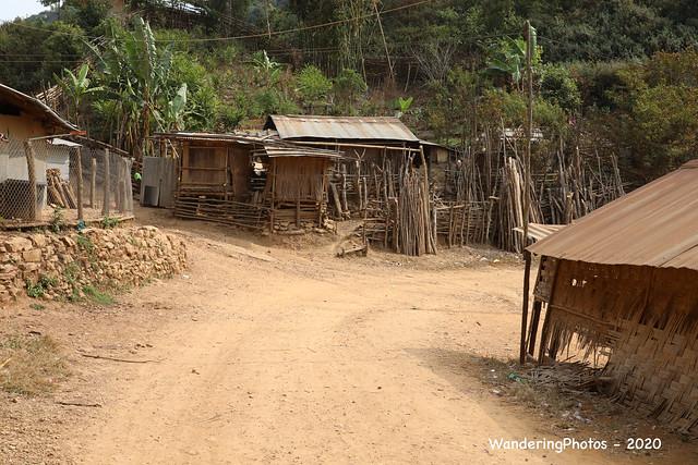 Dirt street through the village - Pang Por - Oudomxay Northern Laos
