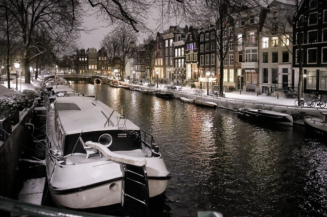 Amsterdam canal houses on a bright winter night