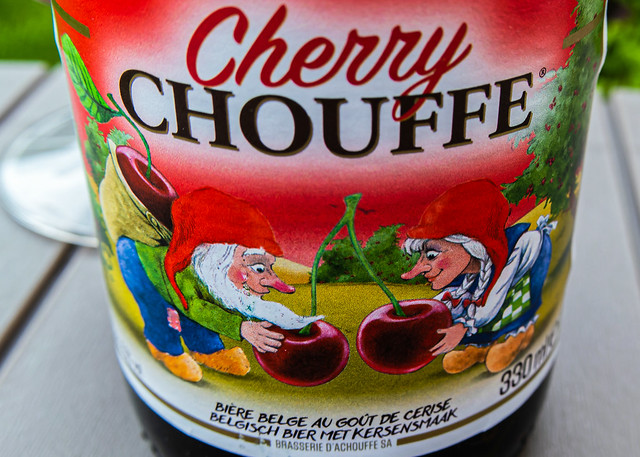 Close Up - Beer Bottle Label (Cherry Chouffe) (2) (Panasonic Lumix TZ200)