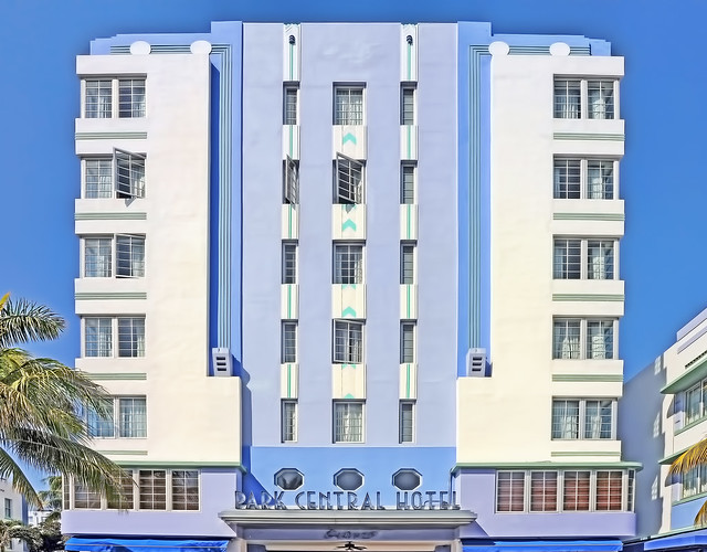 Park Central Hotel, 640 Ocean Drive, Miami Beach, Florida, USA / Built: 1937 / Architect: Henry Hohauser / Builder: L. & H. Miller Company / Floors: 7 / Exterior Walls: Stucco / Architectural Style: Art Deco