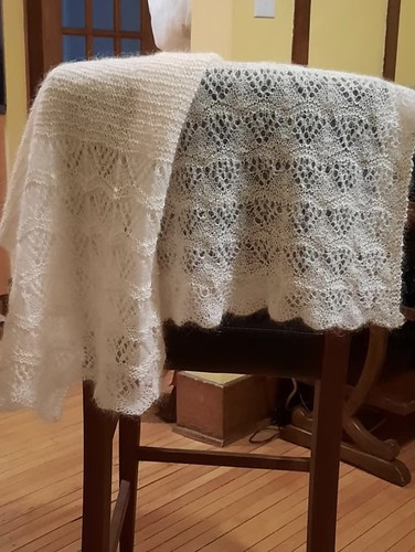Libby knit Ashes by Joji Locatelli for Emily and her son Matthew's wedding! Yarn is Shibui Lunar and Drops Kid Silk.
