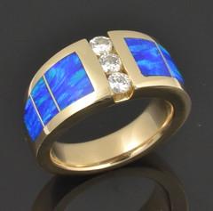 Custom lab opal and diamond ring