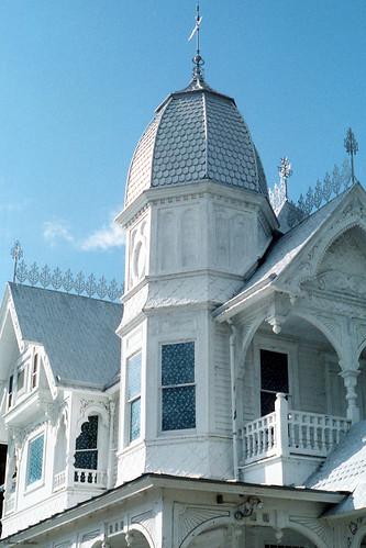 architecture house lodge masonic victorian queenannestyle historical turret gingerbread scrollwork 1986 mountdora florida