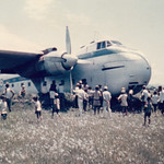 1969 RNZAF Bristol Freighter NZ5906 stuck in a ditch at Pokhara, Nepal, 29 May 1969.