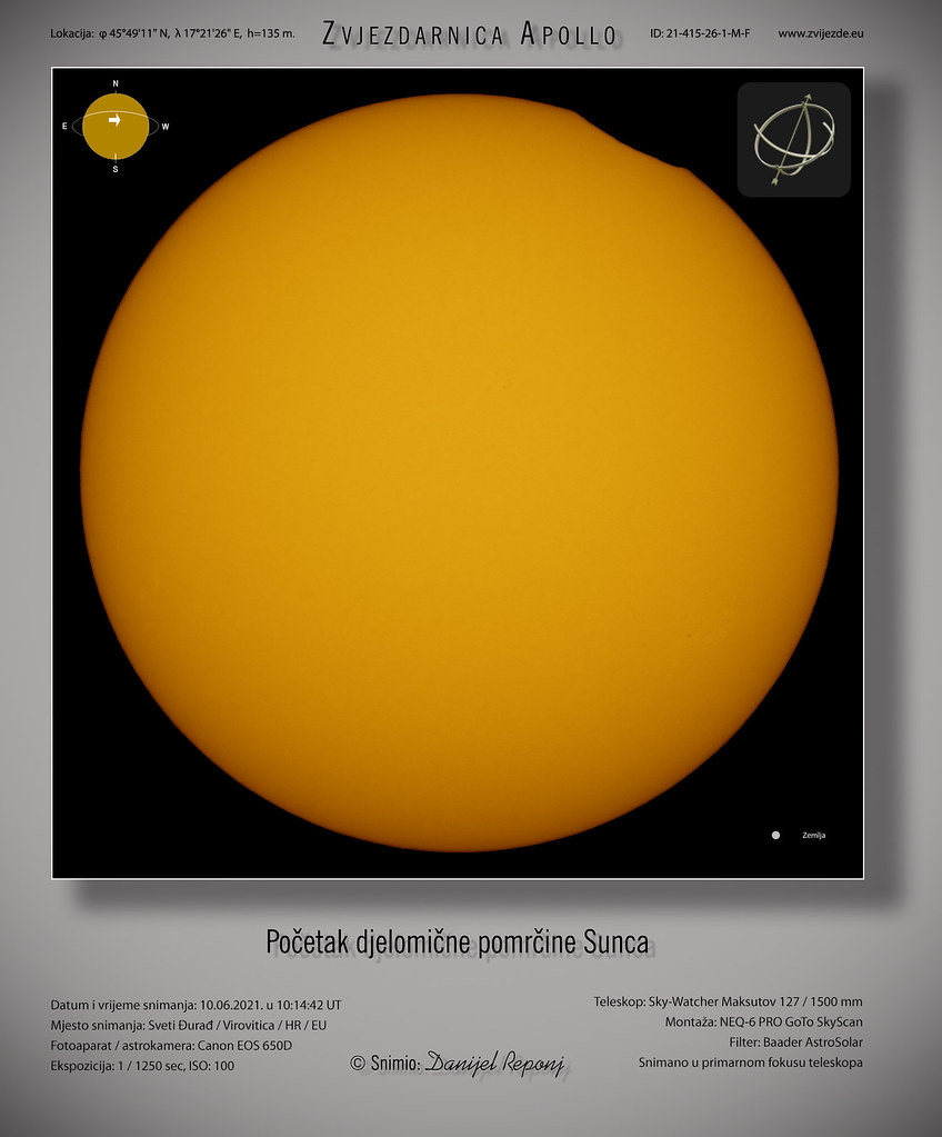 Početak djelomične pomrčine Sunca, 10.6.2021.