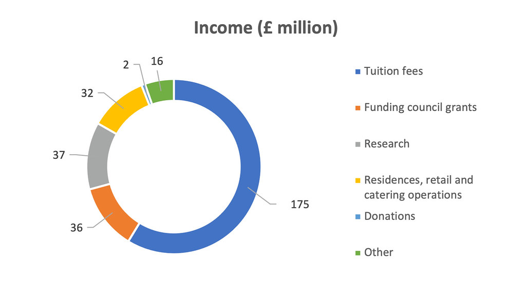 A pie chart of University income