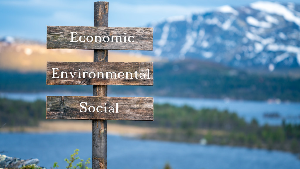 Image of sign showing words Economic, Environmental, Social against mountainous background.