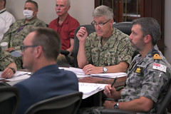 Vice Adm. Steve Koehler, commander of U.S. 3rd Fleet, attends RIMPAC 2022 objectives and overview brief during the RIMPAC 2022 initial planning conference. (U.S. Navy/MC3 Timothy Heaps)