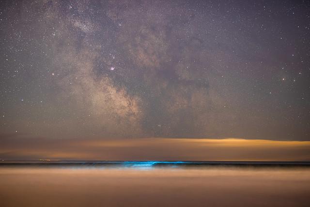 Bioluminescent Plankton and the milky way