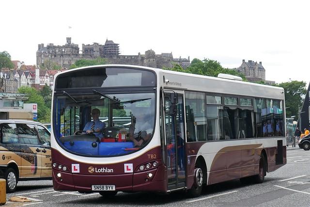 Lothian Volvo B7RLE Wright Eclipse Urban SN58BYV TB2, training bus, former service bus 168, at Princes Street on 10 June 2021.