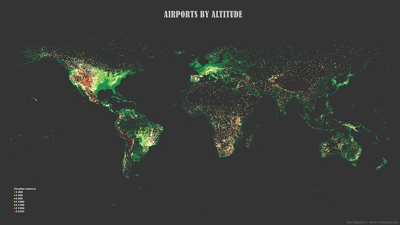 Map of airports by altitude