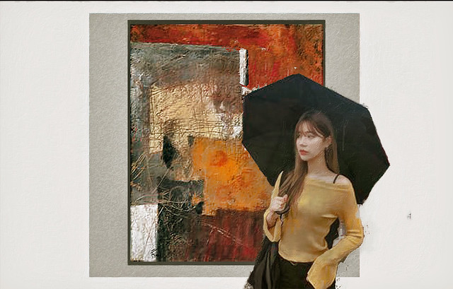woman with umbrella collage