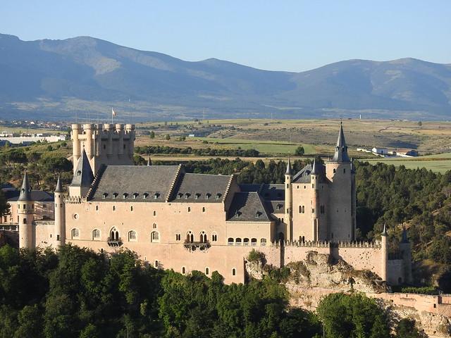Panorámica desde un globo del Alcázar de Segovia