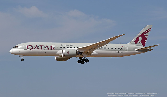 A7-BHB LMML 10-06-2021 Qatar Airways Boeing 787-9 Dreamliner CN 64215