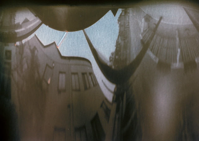 Anamorphic seltzer can pinhole solargraph