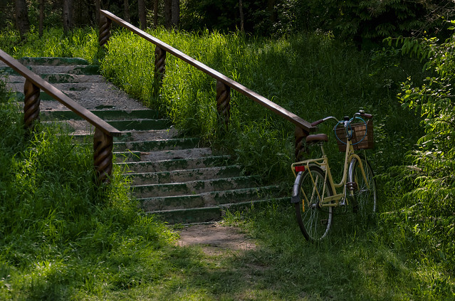 Bicycle by the stairs