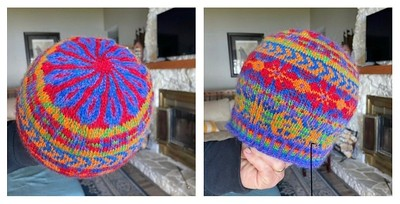 """Debbie (@love.knit.spin.weave) finished her """"wear your pride"""" hat from her Belfast Mini Mills subscription box."""