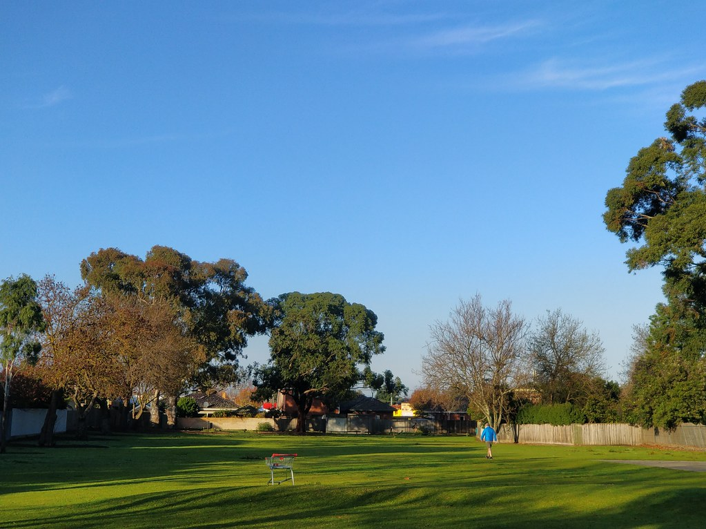 Shopping trolley, man in blue jacket, under blue Winter skies at Wattle Grove Reserve