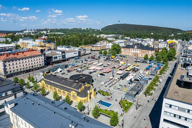 Kuopion tori 2 ilmakuva kesäkuu 2021