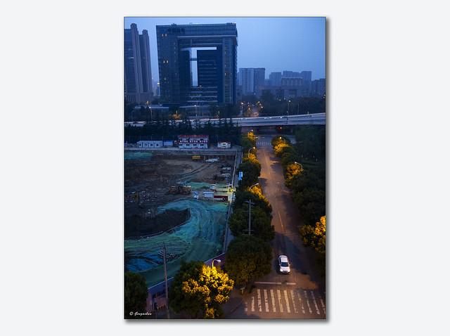 Chantier de construction immobilière tertiaire - Chengdu septembre 2017