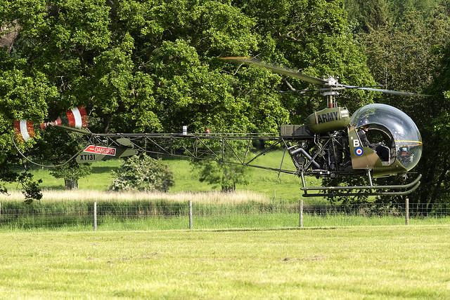 UK Army Air Corps Historic Flight Agusta-Bell Sioux AH.1 XT131 at the Midlands Air Show 2021 (Ragley Hall,Alcester)