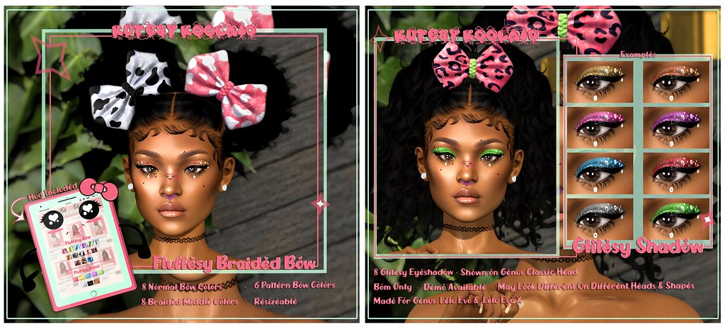 Kutesy Koolaid Presents ~ Fluffesy Braided Bow & Glitesy Shadow
