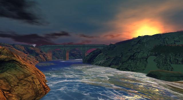 River bridge at sunrise