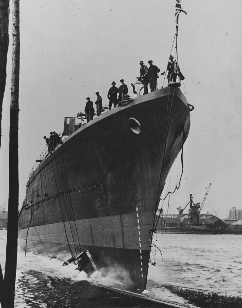 HMS Mohawk (F31) launch day  October 5th 1937.