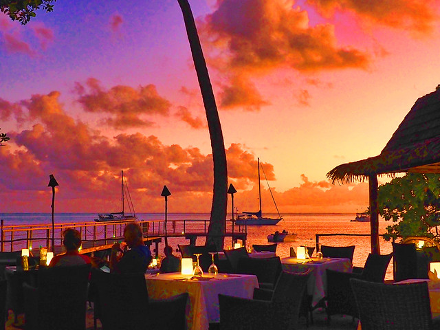 Dinner at sunset on the beach in Huahine French Polynesia