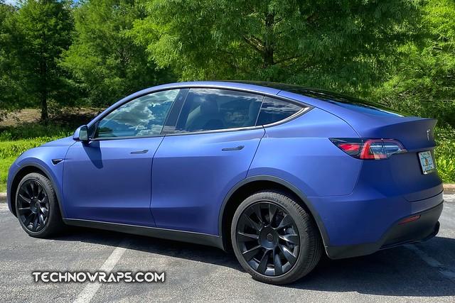 Tesla Model Y matte blue vinyl wrap in Orlando