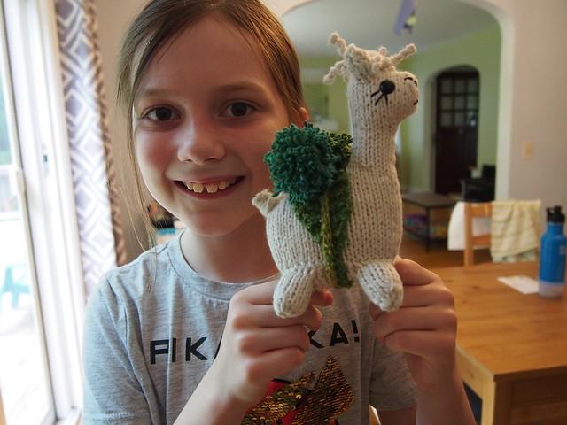 Proud little knitter!